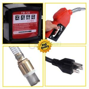 16gpm Electric Diesel Oil Transfer Pump Fuel Manual Nozzle Hose Black And Red