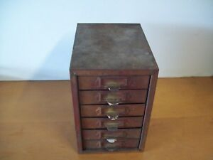 Vintage Industrial 6 Drawer Metal Cabinet