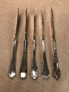 5 Vintage Antique Silverplate Master Twisted Butter Knives Spreaders Craft Lot