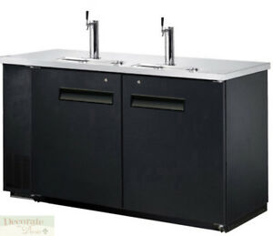 60 Back Bar Cooler Kegerator Beer Dispenser Refrigerator 2 Door 2 Keg Black New