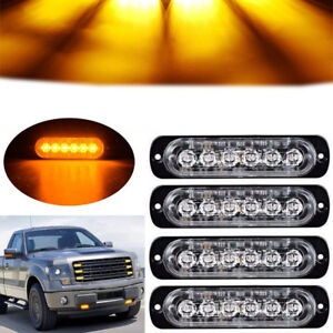 4pcs 6led Amber Car Truck Emergency Beacon Warning Hazard Flash Strobe Light Bar