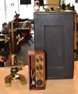 Antique Vintage Brass Bausch Lomb Microscope W Original Wood Case And Lenses