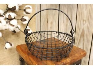 Rustic Country Primitive Farmhouse Black Wire Mesh Egg Basket With Handle