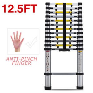 12 5ft Anti pinch Finger Ladder Extensiontelescoping Portable Folding Telescopic