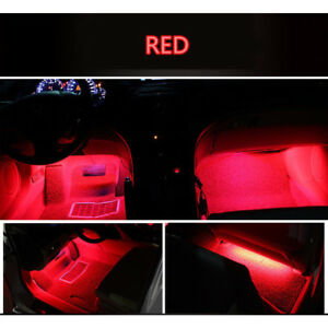4x Red 9led Charger Interior Light Accessories Car Suv Floor Decorative Set