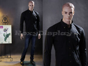 Male Fiberglass Realistic Mannequin With Molded Hair Dress Form Display mz wen5