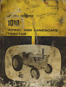 John Deere Vintage 1010 Wheel And Landscape Tractor Parts Manual Pl t16741t
