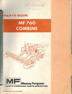 Massey Ferguson 760 Combine Parts Manual Mf 651 318 M95