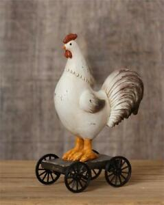 Primitive Country Aged Rooster Chicken Pull Toy With Wheels