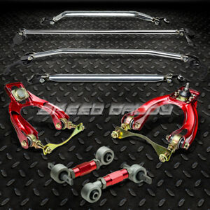 Upper lower Strut Bars red Front rear Camber bushing Kit arm Civic Eg integra Dc