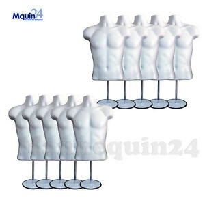 10 Male 10 Stands 10 Hooks White Men s Torso Dress Body Forms