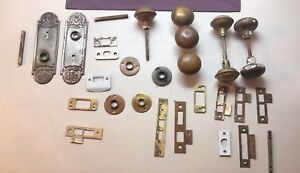 Vintage Door Knobs Face Plates Spindles Excussion Brass Copper Steel B0083
