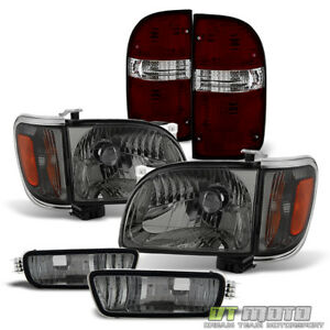 For 2001 2004 Toyota Tacoma Headlights bumper Lights red Smoke Tail Brake Lamps