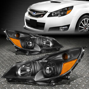 For 10 14 Subaru Outback Legacy Black amber Corner Projector Headlight Headlamp
