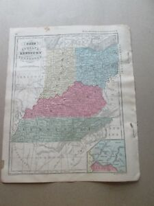 1 1860 Map Of Oh In Ky Tn Francis Mcnally S System Of Geography