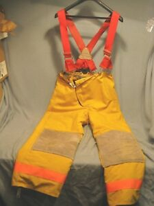 Lion Fire Fighter Turnout Gear Industrial Fireman Pants Labeled 38r W Suspende