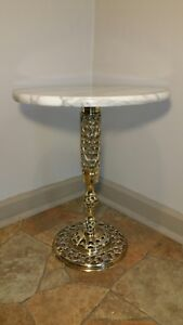 Marble Top Brass Base Display Accent Side Tea Table Hollywood Regency Nice