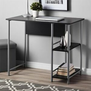 Mainstays Garrett Basic Metal Office Student Desk With 2 Side Shelves
