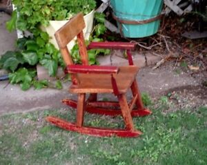 Vintage Rustic Childs Rocking Chair Original Red Paint Solid Oak Handmade Usa