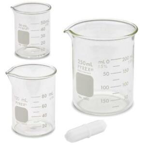 Corning Pyrex 1000 Griffin Low Form Glass Beaker Set With Magnetic Stir Bar