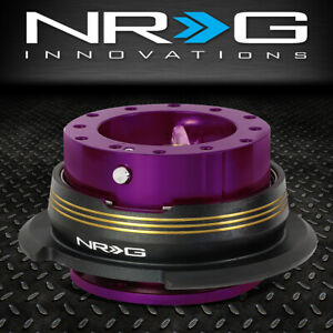 Nrg 6 Bolt Aluminum Steering Wheel Quick Release Gen 2 9 Purple Body Gold Stripe