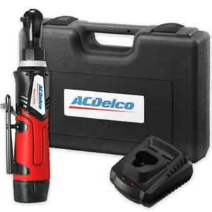 Acdelco Cordless 12v Angled 1 4 Ratchet Wrench 30 Ft Lb 2 Amp Tool Set With