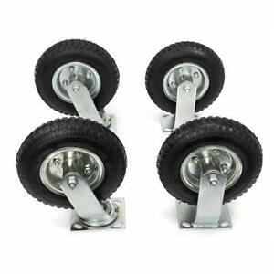 10 4pcs Pneumatic Air Tire Wheels 2 Rigid 2 Swivel Hd Farm Cart Caster Black