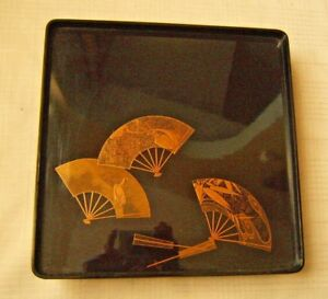 Old Japanese Lacquer Tray 3 Fans Fine Quality Footed