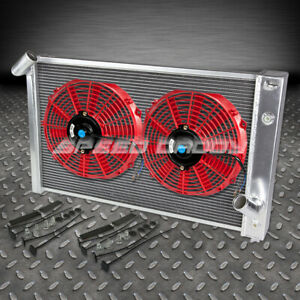 3 Row Aluminum Racing Radiator 2 Red Fan 69 72 Chevy Bbc Corvette 454 7 0 7 4