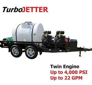 Tubojetter Dx 2 Twin Engine Trailer Jetter Trailer Mounted Jetter 18 Gpm 4 000