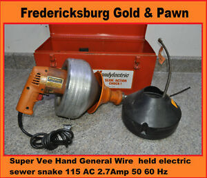 General Wire Super Vee Hand Held Electric Sewer Snake 115 Ac 2 7amp 50 60 Hz