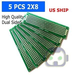 5pc 2x8 Cm Double Side Diy Prototype Circuit Breadboard Pcb Universal Board g