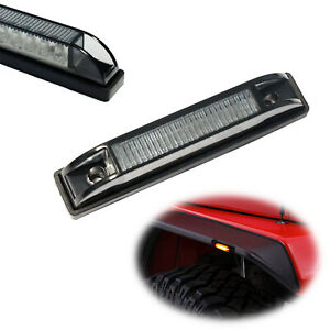 Smoked 6 led Amber Fender Flare Side Marker Lamps For Jeep Wrangler Tj Jk And Jl