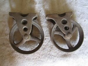 2 Antique Industrial 4 1 2 Diameter Cast Iron Cart Caster Wheels