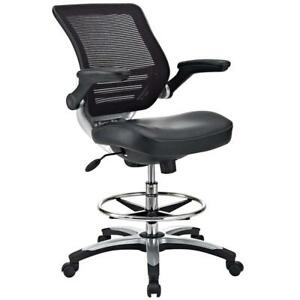 Modway Edge Drafting Chair In Black Vinyl Reception Desk Tall Office For