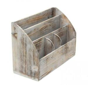 Vintage Rustic Wooden Office Desk Organizer Mail Rack For Desktop