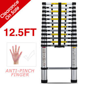 12 5ft Anti pinch Finger Extension Telescoping Ladder Step Stool Telescopic