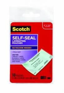 Scotch Self sealing Laminating Pouches Business Card Size 2 Inches X 3 5