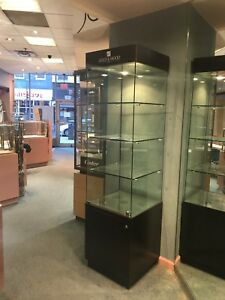 Gold And Wood Glass Display Case W hinged Door 3 Fixed height Shelves On Base