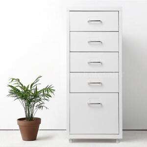 5 drawer Detachable Metal Mobile Filing Cabinet Home Office Furniture White T6u4