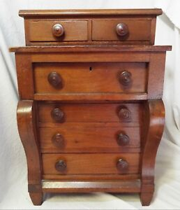 Early Antique C1840s Empire Walnut Salesman Sample Dresser