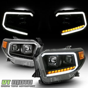 For 2014 2017 Toyota Tundra Led Signal Drl Tube Black Projector Headlights 14 17