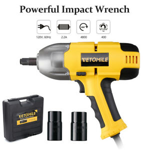 Vetomile 120v 1 2 Electric Impact Wrench Gun Set High Torque W 2 Socket