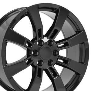 22x9 Black Rims Set Of 4 Fits Gm Cadillac Escalade Gmc Wheels