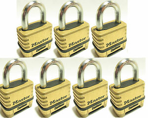 Combination Lock Set By Master 1175 lot Of 7 Resettable Brass Sealed Carbide