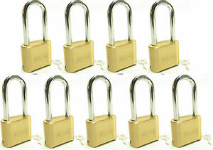 Lock Brass Master Combination 175lh lot Of 9 Long Shackle Resettable Secure