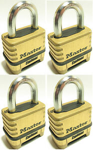 Combination Lock Set By Master 1175 lot Of 4 Resettable Brass Sealed Carbide