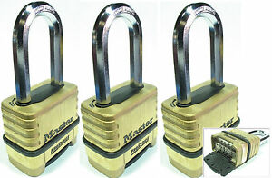 Combination Lock Set Master 1175lh lot 3 Resettable Long Brass Sealed Carbide
