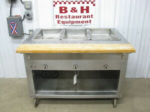 3 Well Three Pan Steam Table Stainless Steel Cabinet Hot Food Bar Warmer
