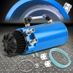 Aluminum Oil Catch Can Reservoir Tank W breather Filter Baffled Universal Blue